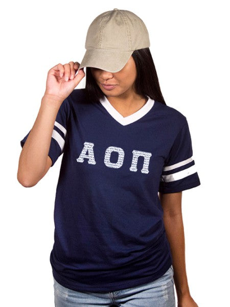 Alpha Omicron Pi Striped Sleeve Jersey Shirt with Sewn-On Letters