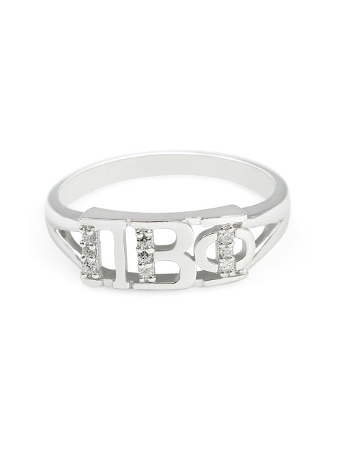 Pi Beta Phi Sterling Silver Ring with Lab Created Clear Diamond