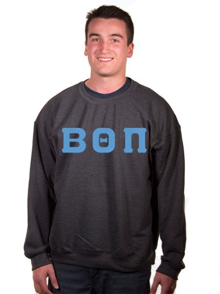 Beta Theta Pi Crewneck Sweatshirt with Sewn-On Letters