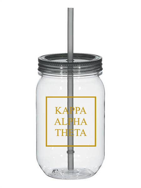 Kappa Alpha Theta Box Stacked 25oz Mason Jar