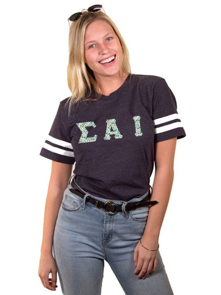 Sigma Alpha Iota Unisex Jersey Football Tee with Sewn-On Letters