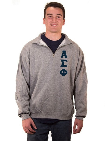 Alpha Sigma Phi Quarter-Zip with Sewn-On Letters