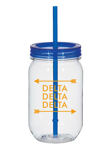 Delta Delta Delta Arrow Top Bottom 25oz Mason Jar