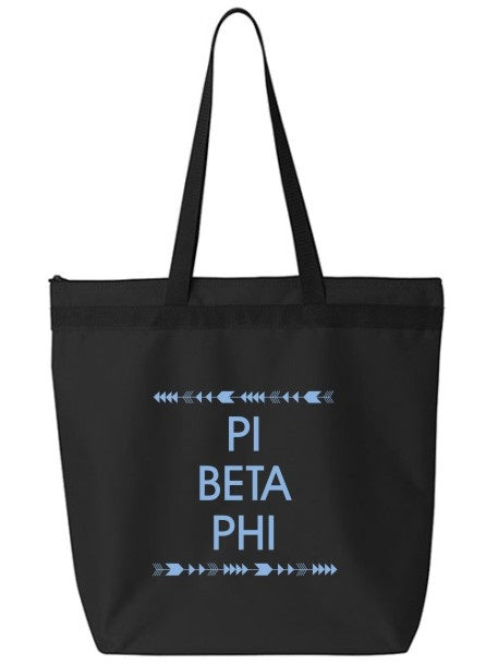Pi Beta Phi Arrow Top Bottom Tote Bag