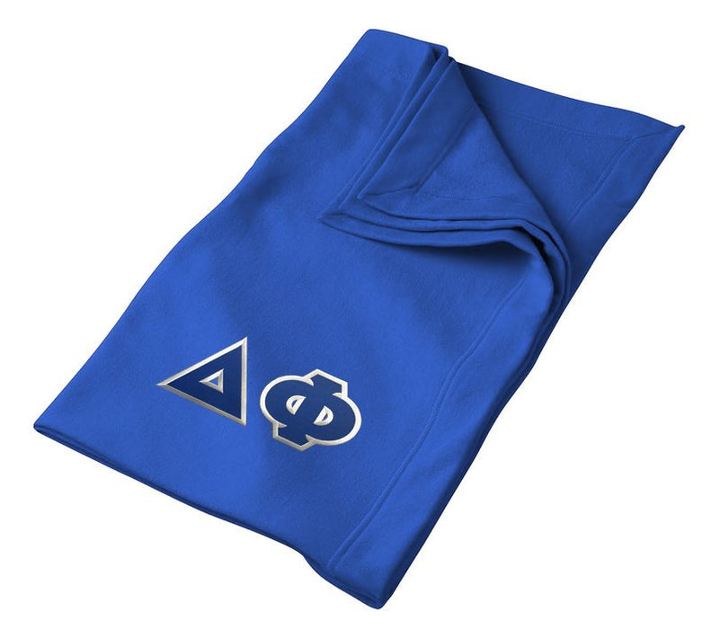 Delta Phi Greek Twill Lettered Sweatshirt Blanket