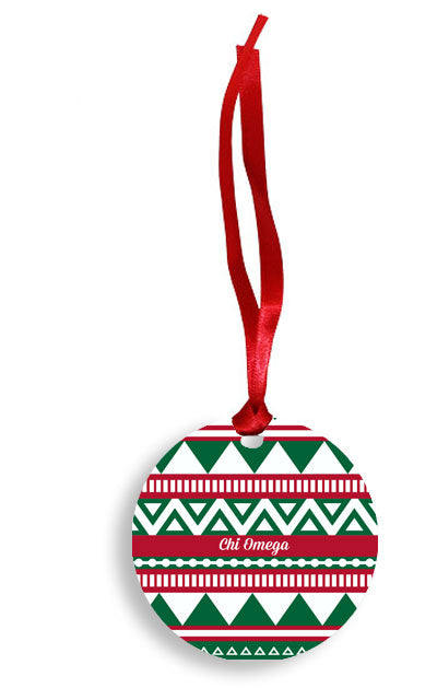 Chi Omega Red and Green Tribal Pattern Sunburst Ornament