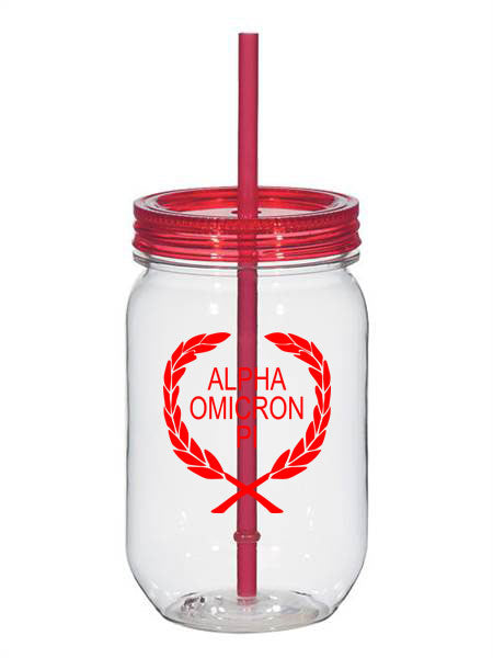 Alpha Omicron Pi Laurel 25oz Mason Jar