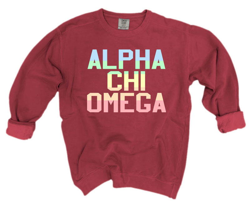 Alpha Chi Omega Comfort Colors Pastel Sorority Sweatshirt