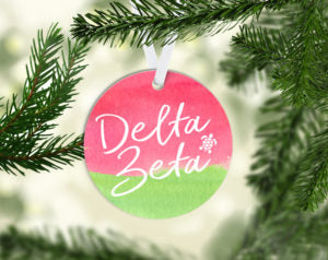 Delta Zeta Round Acrylic Watercolor Ornament