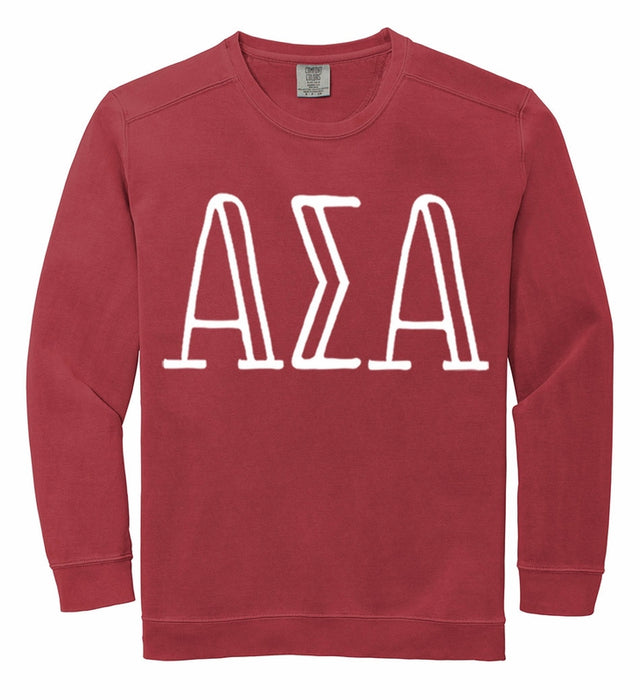 Alpha Sigma Alpha Comfort Colors Greek Letter Sorority Crewneck Sweatshirt