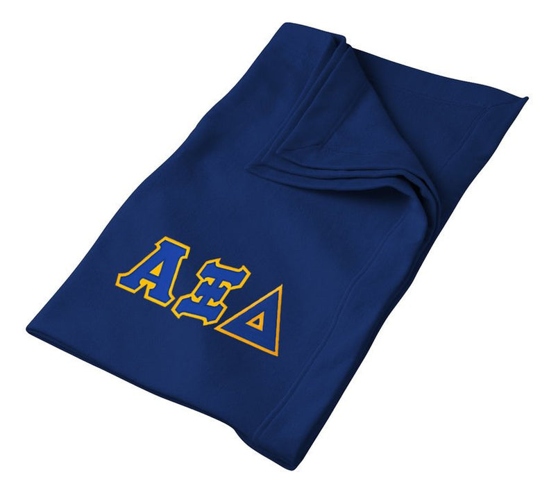 Alpha Xi Delta Greek Twill Lettered Sweatshirt Blanket