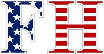Farmhouse American Flag Letter Sticker - 2.5