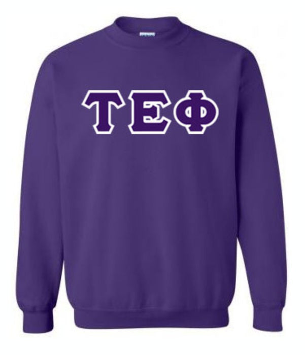 Tau Epsilon Phi Classic Colors Sewn-On Letter Crewneck