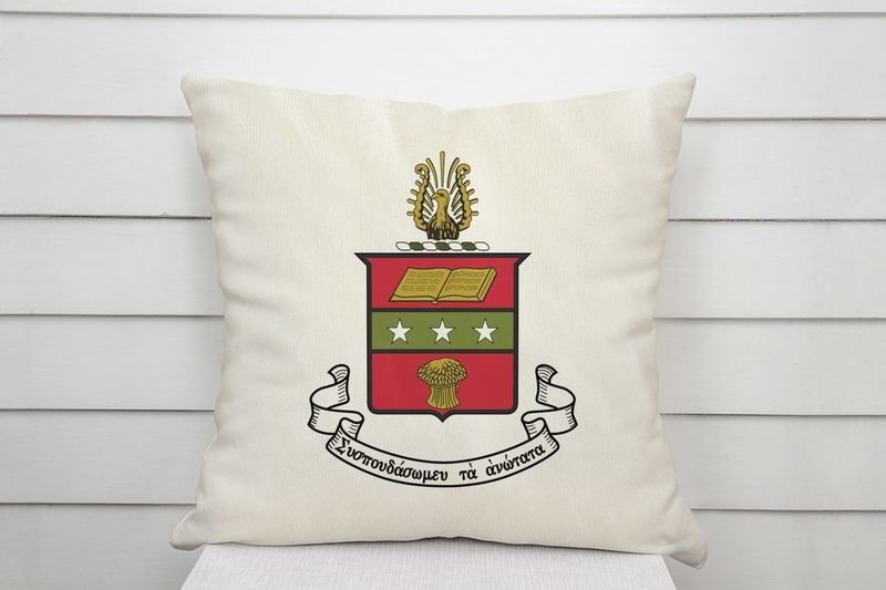Alpha Chi Omega Linen Shield Throw Pillow
