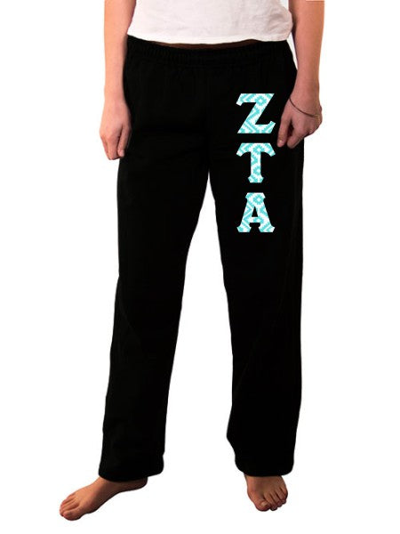 Zeta Tau Alpha Open Bottom Sweatpants with Sewn-On Letters