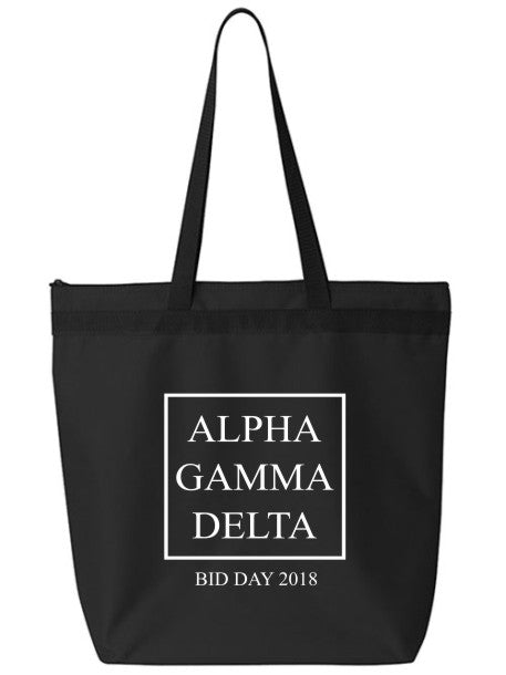 Alpha Gamma Delta Box Stacked Event Tote Bag