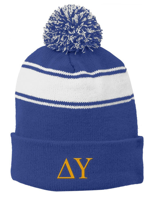 Delta Upsilon Embroidered Pom Pom Beanie