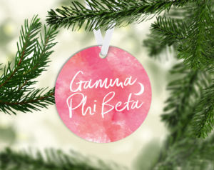 Gamma Phi Beta Round Acrylic Watercolor Ornament