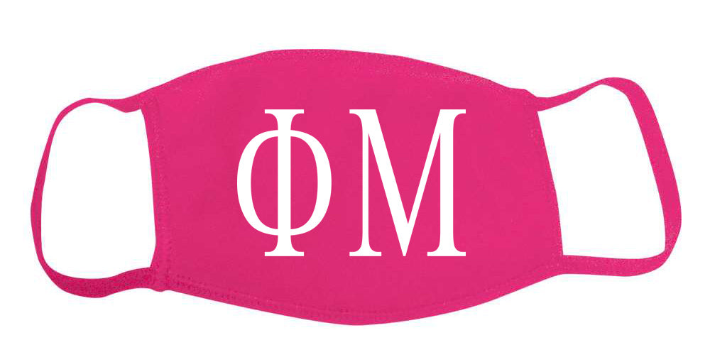Phi Mu Face Mask With Big Greek Letters