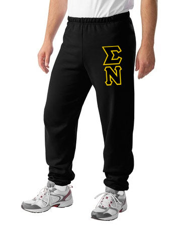 Sigma Nu Sweatpants with Sewn-On Letters
