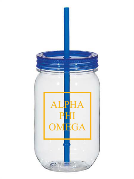 Alpha Phi Omega Box Stacked 25oz Mason Jar