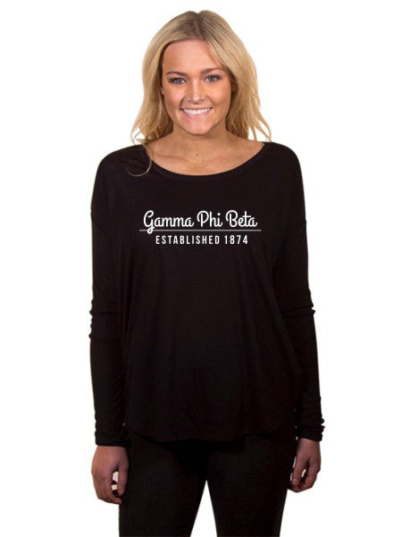 Gamma Phi Beta Year Established Flowy Long Sleeve Tee