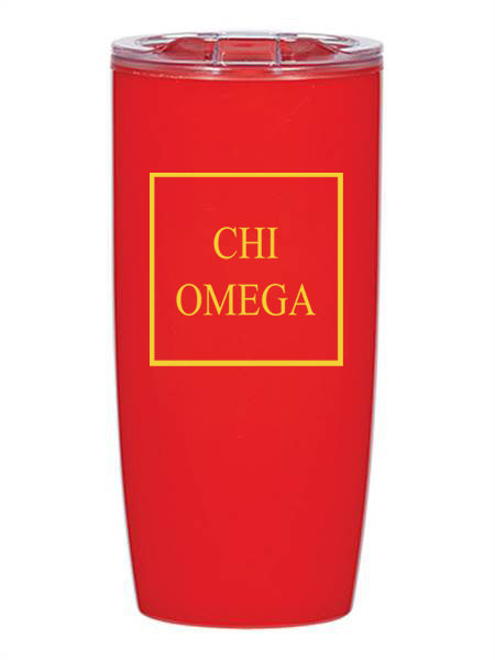 Chi Omega Box Stacked 19 oz Everest Tumbler