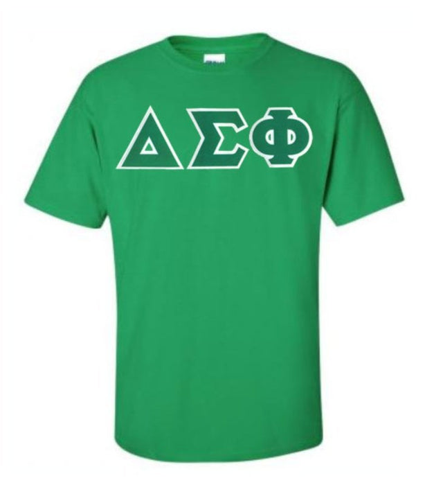 Delta Sigma Phi Short Sleeve Crew Shirt with Sewn-On Letters