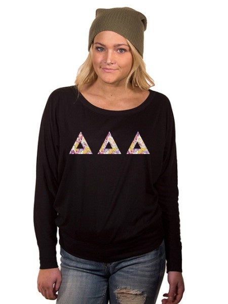 Delta Delta Delta Off the Shoulder Flowy Long Sleeve Shirt with Letters
