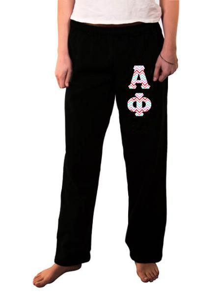 Alpha Phi Open Bottom Sweatpants with Sewn-On Letters