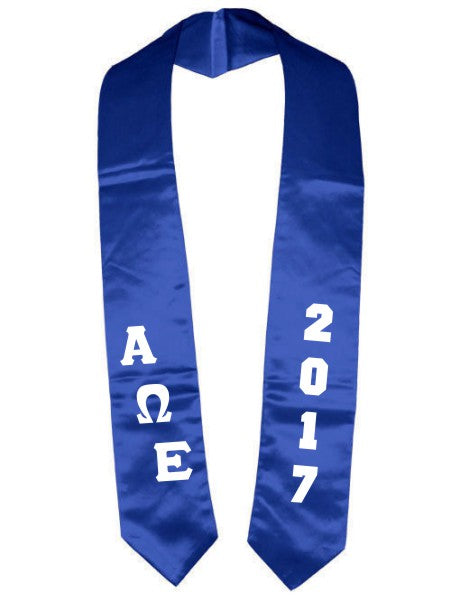 Alpha Omega Epsilon Slanted Grad Stole with Letters & Year