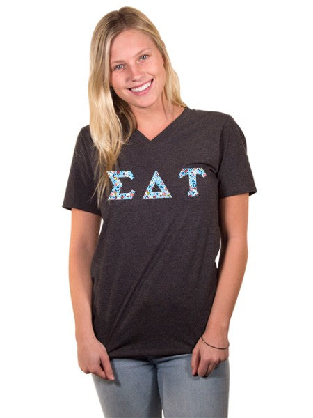 Sigma Delta Tau Unisex V-Neck T-Shirt with Sewn-On Letters