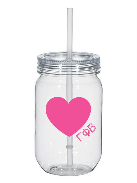 Gamma Phi Beta 25oz Scribbled Heart Mason Jar