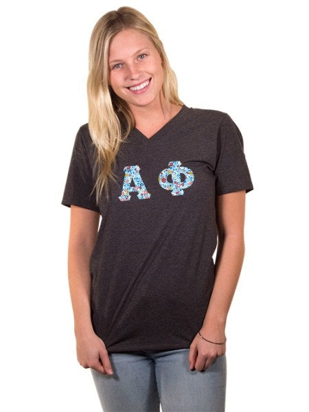 Alpha Phi Unisex V-Neck T-Shirt with Sewn-On Letters
