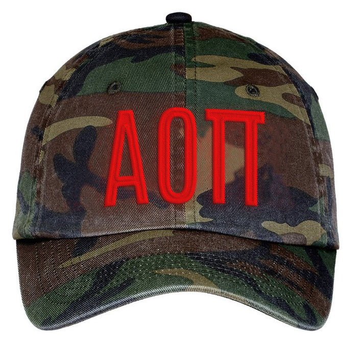 Alpha Omicron Pi Letters Embroidered Camouflage Hat