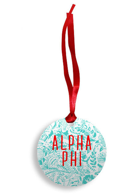 Alpha Phi Floral Pattern Sunburst Ornament