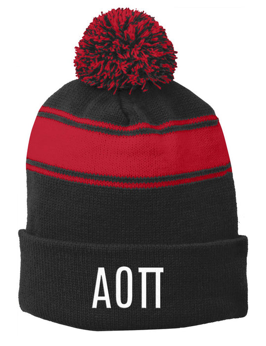 Alpha Omicron Pi Embroidered Pom Pom Beanie