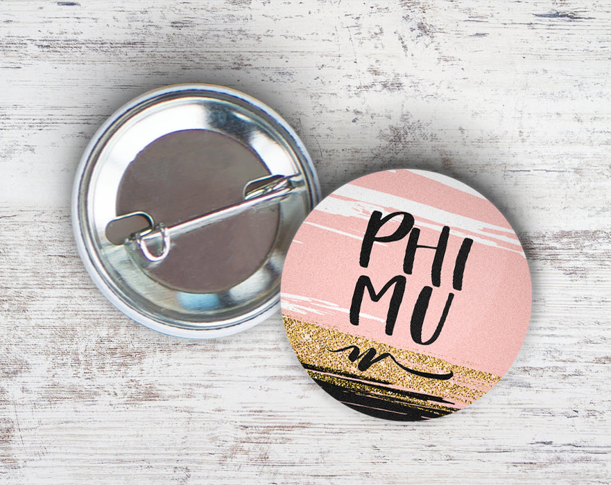 Phi Mu Rose Gold Button