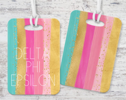 Delta Phi Epsilon Bright Stripes Luggage Tag