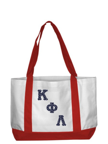 Kappa Phi Lambda 2-Tone Boat Tote with Sewn-On Letters