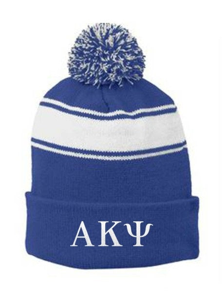 Alpha Kappa Psi Embroidered Pom Pom Beanie