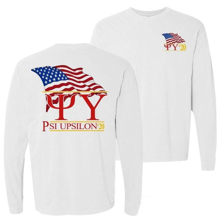 Psi Upsilon Patriot Flag Comfort Colors Long Tee