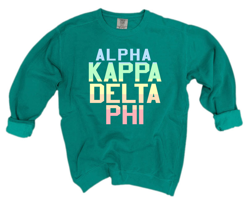 Alpha Kappa Delta Phi Comfort Colors Pastel Sorority Sweatshirt
