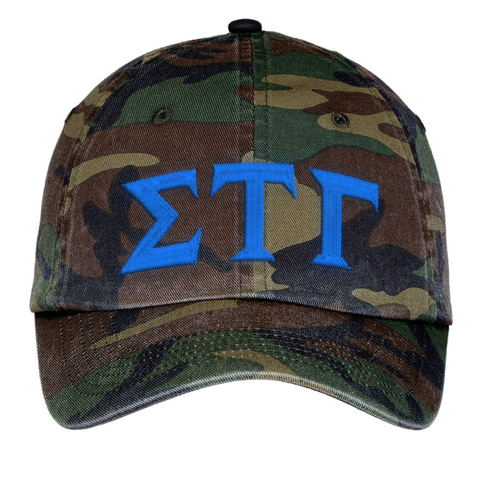 Sigma Tau Gamma Letters Embroidered Camouflage Hat