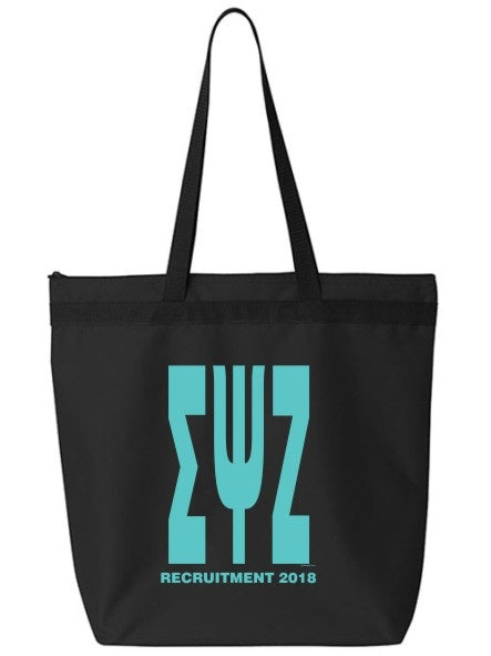 Sigma Psi Zeta Impact Letters Zippered Poly Tote