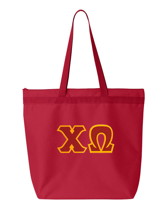 Chi Omega Greek Lettered Game Day Tote