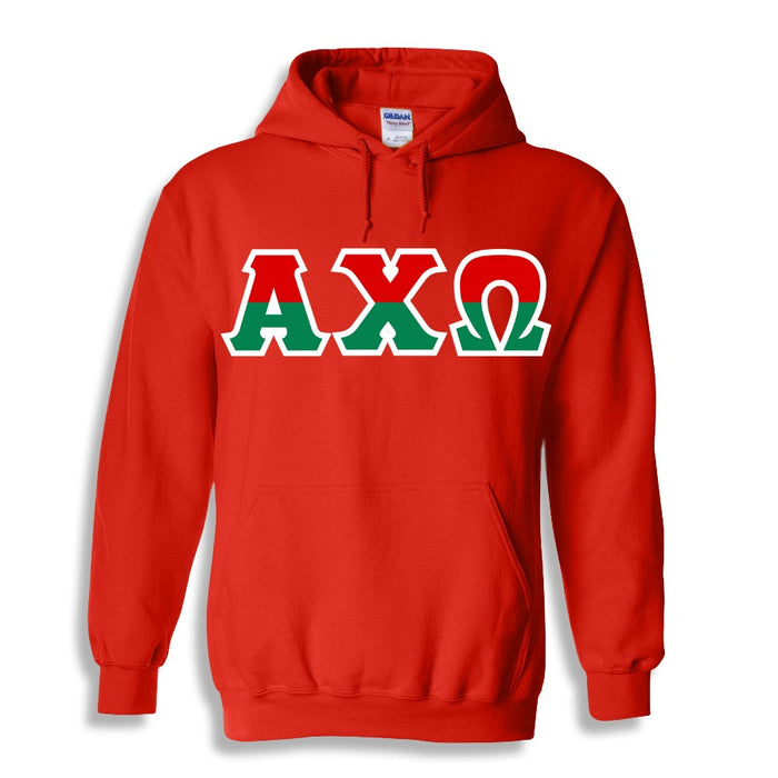 Alpha Chi Omega Two Toned Lettered Hooded Sweatshirt