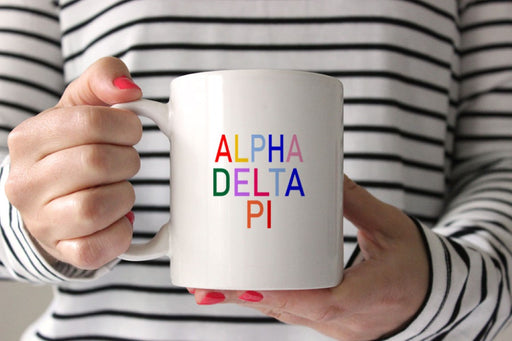 Alpha Delta Pi Coffee Mug with Rainbows
