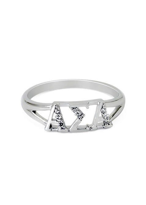 Alpha Sigma Alpha Sterling Silver Ring with Lab Created Clear Diamond