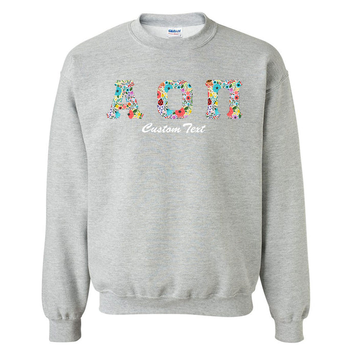 Alpha Omicron Pi Crewneck Letters Sweatshirt with Custom Embroidery